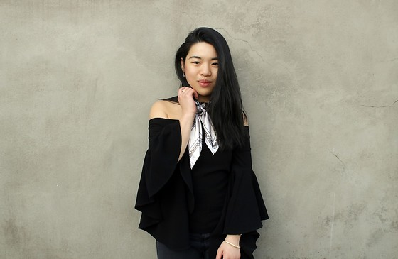 Thuy Pham - New Look Off Shoulder Statement Sleeve Blouse, Zara Grey Jeans, Primark Square Scarf - Statement sleeves