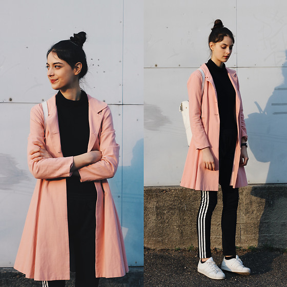 Nora Aradi - Alice's Pig Coat, H&M Turtle Neck, Adidas Pants, Adidas Sneakers - Pink vibes