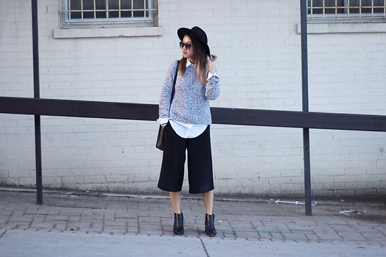 Jeannie Y - H&M Sweater, Zara Culottes, Vince Camuto Boots, Forever 21 Hat - No Room For Colour