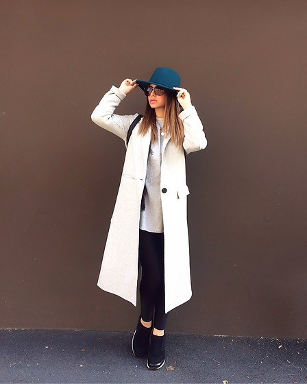 YummyangEl - Zara Shoes, Pcpclothings Leggings, Zara Coat, Zara Blouse, Zara Hat - Casual day