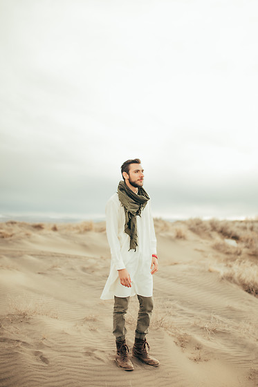 Hector Diaz - Etsy Kaftan (Similar), The Rail Olive Green Joggers (Similar), Aldo Boots (Similar), Goodwill Scarf - Fulani X Middle East (Shadows in the Dunes)