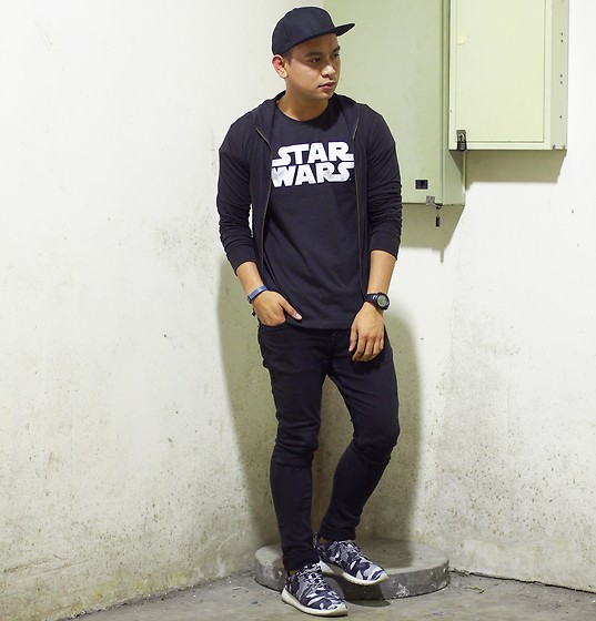 DADA FAB - H&M Cap, Cotton On Star Wars Shirt, Topman Black Jacket, Zara Skinny Jeans, Nike Rosche Shoes - Star Wars