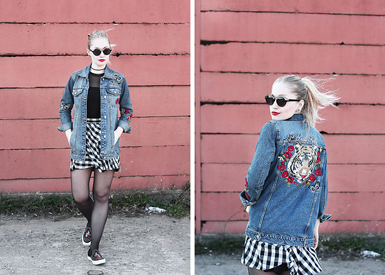 Petra - Stradivarius Embroidered Denim Jacket, H&M Black Mesh Top, H&M Black And White Checked Skirt, Pull & Bear Studded Slip Ons With Embroidery, Black Round Sunglasses, Tally Weijl Studded Choker - Hello April!