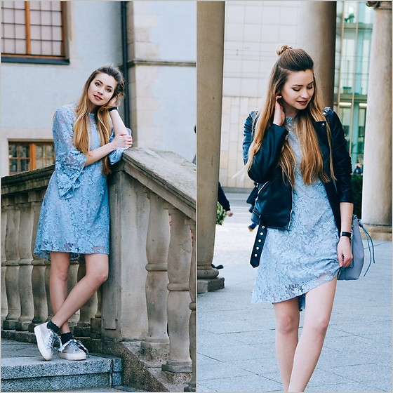 Juliette Jakubowska -  - Blue lace dress and black biker jacket