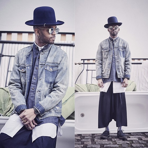 Martell Campbell - D'lyle Treasure Fur Felt Blue Hat, Ray Ban Sunglasses, Wrangler Bleach Was Denim Jacket, Wåven Harem Pants, Agi & Sam X Ayame Print Socks, Carrier Company Chambray Shirt - My Kind of Double Denim