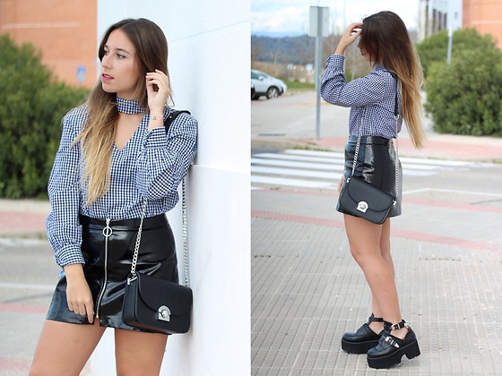 Claudia Villanueva - Zaful Shirt, Zara Skirt, Zaful Bag, Shein Boots - Choker Shirt