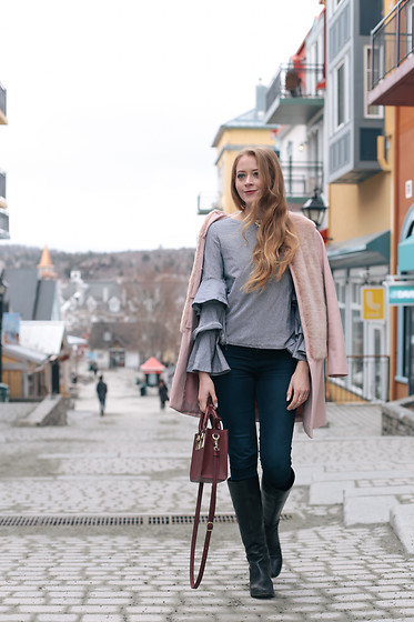 Natalie A - Pink Coat, Shein Ruffle Blouse, Bag, Vince Camuto Boots, American Eagle Outfitters Jeans - Mont-Tremblant