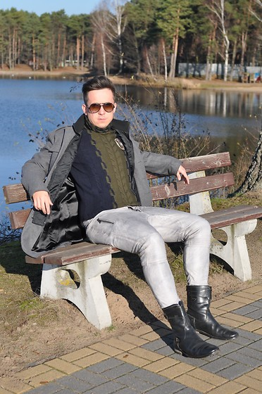 Pawel - Theo. Coat, Roberto Cavalli Sweater, One Green Elephant Leather Pants, G Star Raw Boots - Remember