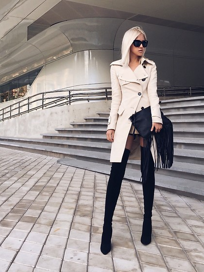 Da Li - Zara High Knee Boots, H&M Bag, Karen Millen Coat - Elegant mood