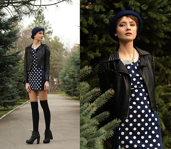 Tasha Yun - H&M Hat, Topshop Leather Jacket, H&M Dress, H&M Necklace, H&M Boots - Polka Dot