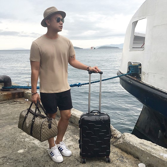 DADA FAB - H&M Hat, Asos Camel Shirt, Topman Navy Shorts, Gucci Weekend Bag, Adidas Sneakers - Sail Away
