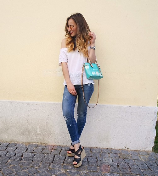 Linda Francis - Ray Ban Rose Gold Sunglasses, Michael Kors Silver Watch, Natura White Off Shoulder Top, Guess Blue Purse, Zara Blue Jeans, Michael Kors Black Wedges - White & Blue