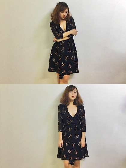 Shugeng Fu -  - Deep V floral dress