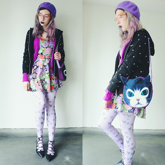 Candy Thorne - H&M Floral Dress, Thrifted Heart Hoodie, Takeshitamae Cat Bag, Takeshitamae Cat Tights, Gu Lace Up Shoes - むらさき