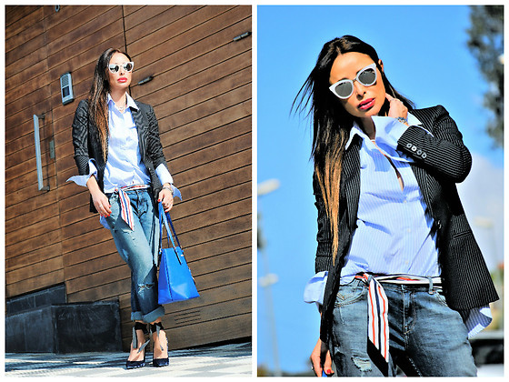 Nekane Smith - Zara Shirt, Michael Kors Bag, Zara Shoes - Stripes Shirt & Cat Eyes