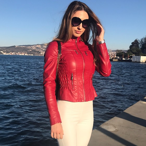 Imgoshka - Guess Leather Jacket, İpekyol Pants, Tom Ford Sunglasses - Red is always classy