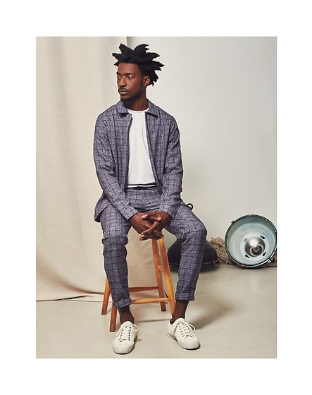 The Idle Man - The Idle Man Window Pane Checked Trousers, The Idle Man Window Pane Checked Coach Jacket, The Idle Man Unconditional Long Sleeve T Shirt, Novesta Plimsolls - Checked Out