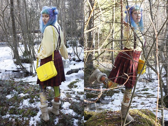 Lindwormmm - Thrifted Suspenders, Ted Baker Yellow Bag, Hand Me Down Yellow Shirt, Hand Me Down Tartan Plaid Skirt, Black Milk Clothing Leggings - Basic Colours Are Not For Basic People