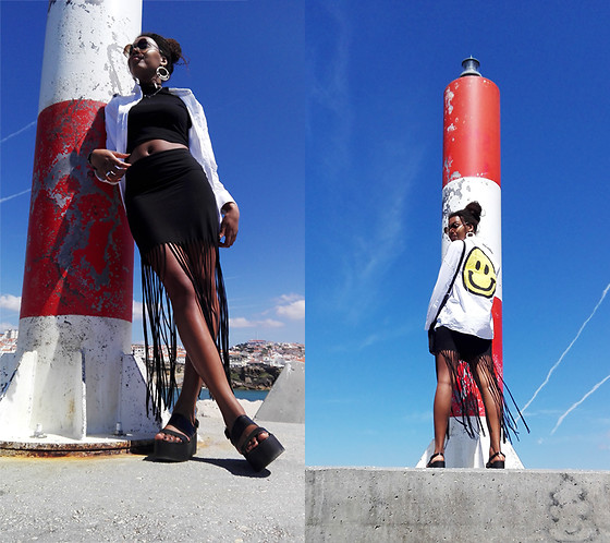 Yara Snow'z - New Yorker Black Skirt, Zara White Shirt - One Sunny Day at Spring