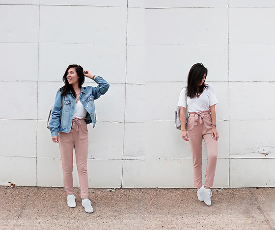 Sheila - Forever 21 Denim Jacket, Rosegal Blush Pink Pants - Blush Pink Pants