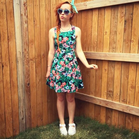Emily Elizabeth - Forever 21 Dress, Five Below Heart Sunglasses, Jelly Sandals - Tropical Fever