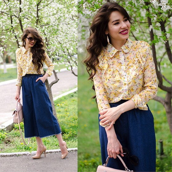 Diyora Beta - Blouse, Culottes - YELLOW PRINTED BLOUSE