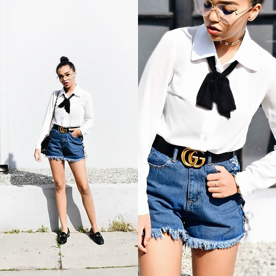 Daphne Blunt - Boohoo Bow Tie Bodysuit, Gucci Gg Marmont Black Belt, Boohoo Denim Lace Up Sides Shorts, Gucci Patent Leather Horsebit Loafers, Chanel Black Classic Quilted Flap Bag, The M Jewelers Gold Monogram Choker, Gucci Clear Monogram Readers Glasses - It's Clear...They're Readers