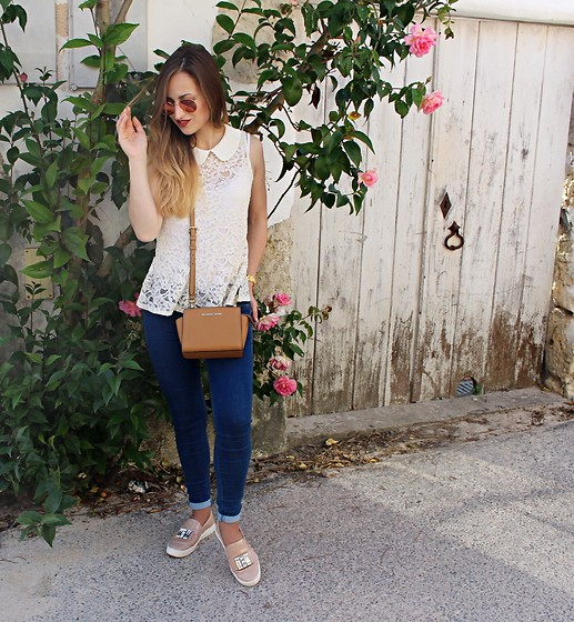 Linda Francis - Ray Ban Rose Gold Sunglasses, Forever21 Lace Top, Michael Kors Camel Mini Purse, Bershka Jeans, Michael Kors Baby Pink Loafers - Pink Roses