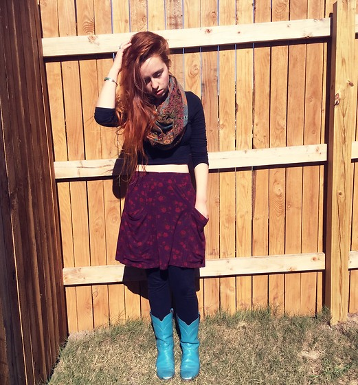 Emily Elizabeth - Goodwill Scarf, Goodwill Black Crop Top, Goodwill Skirt, Goodwill Teal Boots - Bohemian witch