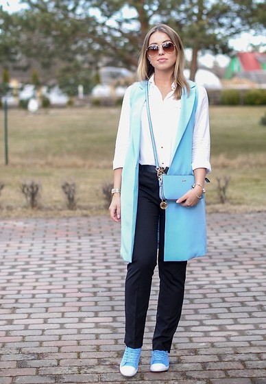 Elena Klimashevskaya - Dkny Sky Blue Crossbody Bag, H&M Black Trousers, Lacoste Sky Blue Keds, Seppala White Shirt - Sky Blue