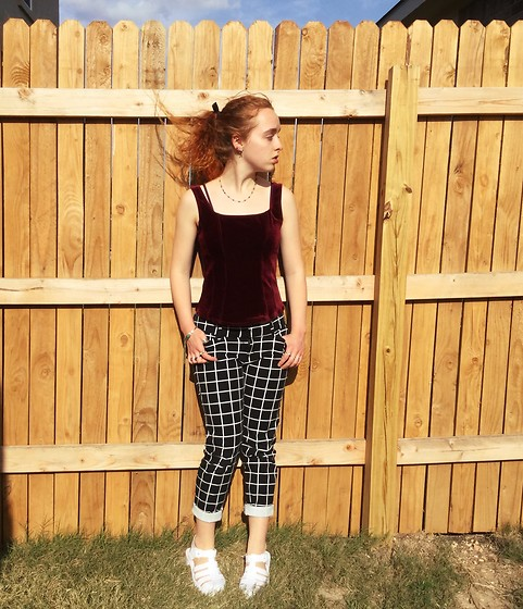 Emily Elizabeth - Savers Velvet Top, Old Navy Geometric Pants, Amazon Jelly Sandals - Retro Goth