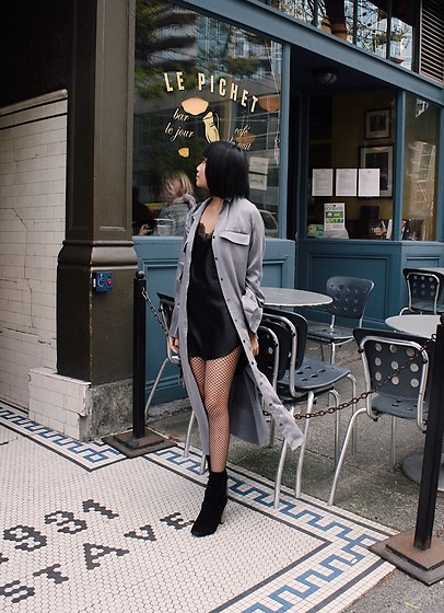 Haylee T - Banana Republic Long Sleeve Silk Shirt, Victoria's Secret Slip Dress, Topshop Booties - French date