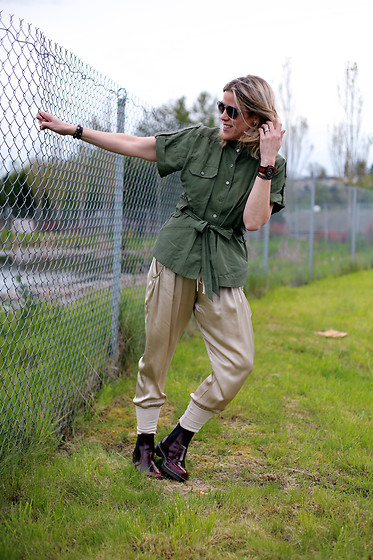 Anne Dofelmier - Marissa Webb Cargo Military Shirt, Nordstrom Silk Joggers - Military Is The New Black