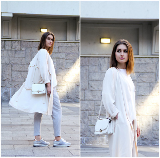 PASHIOON - Bershka Grey Sneakers, New Look Grey Stripes Pants, Cubus Beige Coat, Cubus White Top - Beige mood .