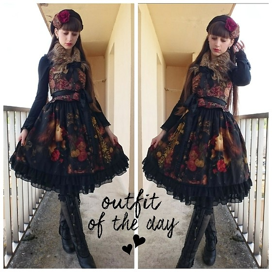 Yumi E.G. - Axes Femme Tapestry Bustier, Soufflesong Vanity Dress, Axes Femme High Boots - Red garden