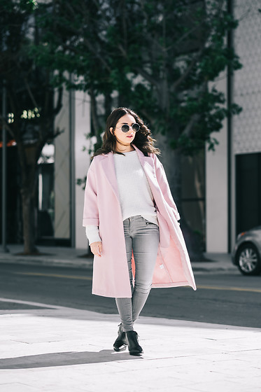 Daniela Ramirez - Shoppiin Pink Coat, True Religion Jeans, Forever 21 Sweater - The Pink Coat