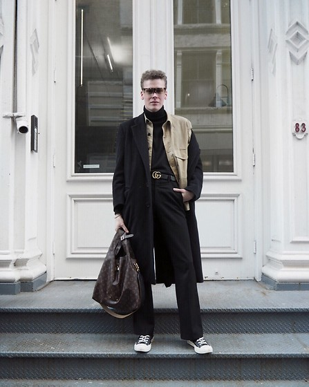 Martijn Maagdenberg - Loewe Filipa Sunglasses, Tom Ford Turtleneck, 7d Wax Jacket, Giorgio Armani Vintage Double Breasted Coat, Gucci G Logo Belt, Costume National Bootcut/Flared Suit Pants, Louis Vuitton Atlantis Monogram Gm Bag, Converse X Comme Des Garcons Play Cdg Sneakers - Untitled #44