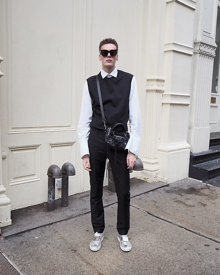 Martijn Maagdenberg - Céline Tilda Tortoise Sunglasses, Cmmn Swdn Sleeveless Sweater, Balenciaga Flared Sleeve Shirt, Balenciaga Black Mini City Bag W/ Silver Hardware, Acne Studios Straight Suit Pants, Acne Studios Silver Metallic Smiley Sneakers - Untitled #45