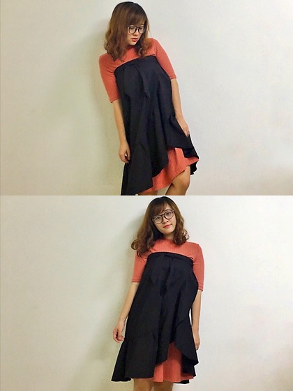 Shugeng Fu - Zara Navy Blue Flounce Skirt - Double dresses~