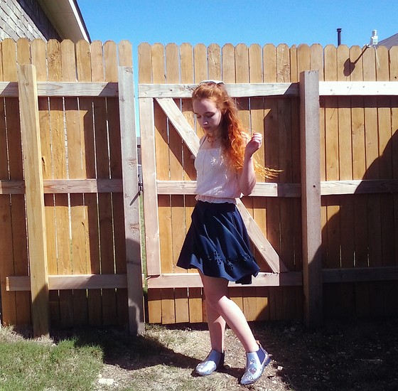 Emily Elizabeth - American Eagle Outfitters Pink Tank Top, Goodwill Navy Skirt, Irregular Choice Sparkly Boots - In Bloom