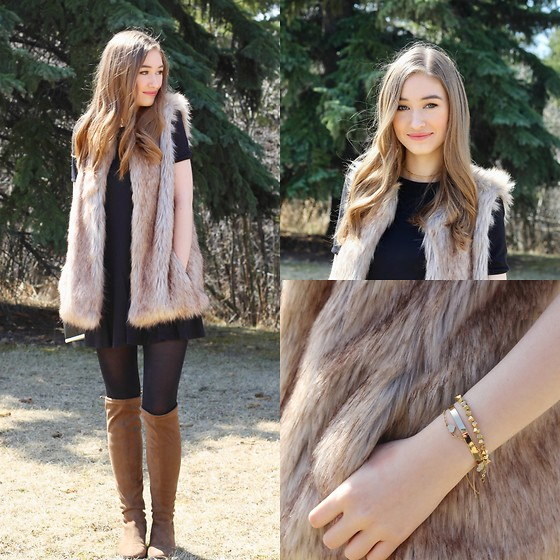 Taylor Doucette - Zara Fur Vest, Forever 21 Over The Knee Boots, Zara Black T Shirt Dress - Dreams- Passion Pit