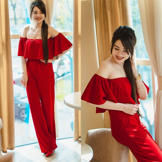 Diyora Beta - Red Jumpsuit - RED JUMPSUIT
