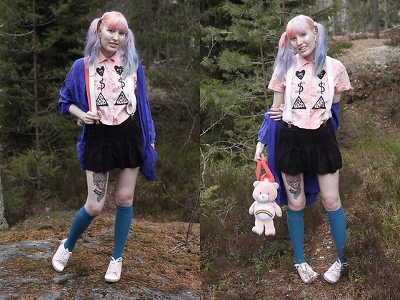 Lindwormmm - Love Money Pizza, Thrifted Blue Cardigan, Pleated Tweed Miniskirt, Sneakers Pumps, Etsy (Second Hand) Carebear Backpack, Thrifted White Thick Suspenders, Turquoise Knee High Socks - Sneaky Tattoos and Fresh New Hair