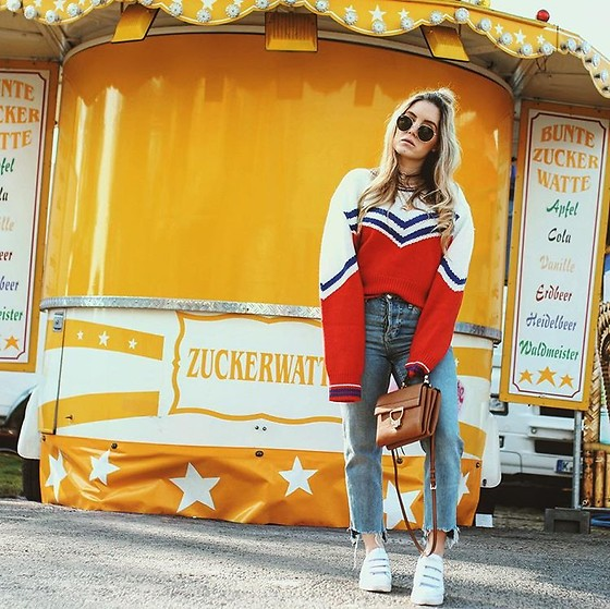 Fashiontwinstinct - Coccinelle Bag, Nubikk Sneakers - Funfair x Retro Sweater.