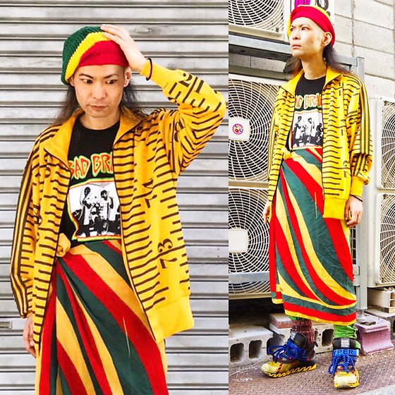 @KiD - Bob Marley Knit Cap, Adidas The Ruler Pattern Jersey, Obey Bad Brains Tee, Vintage Dub Rasta Pattern Scarf, Bernhard Willhelm Camouflage Crazy Sneaker, Adidas Bondage Jersey - Japanese Trash131