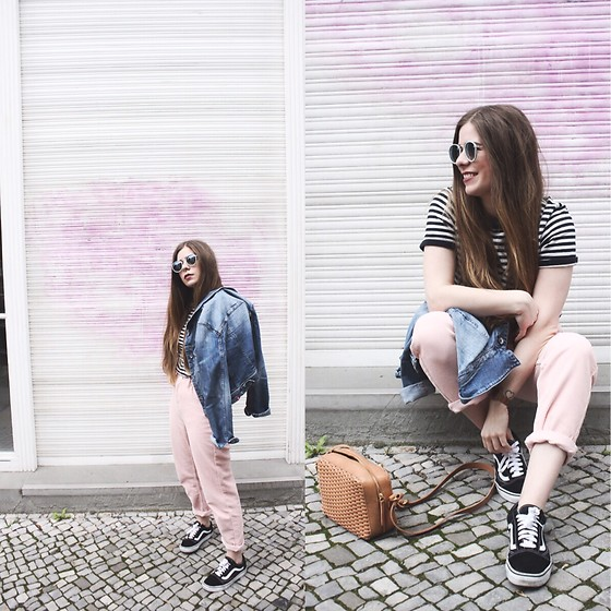 Elaine Hennings - &Other Stories Bag, Urban Outfitters Corduroy Trousers, Esprit Denim Jacket, Vans Shoes, Fred Perry T Shirt, Zara Sunglasses - Blushed Corduroy