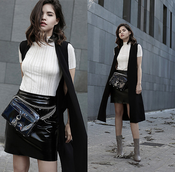 Adriana Gastélum - & Other Stories Lace Top, & Other Stories Pu Leather Skirt, Chinese Laundry Booties, Rebecca Minkoff Mini Mac Bag, More Outfits On - Modern Fanny Pack