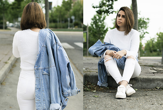 Elsa Gervasi - Zaful Top, Levi's® Jacket, Pull & Bear Jeans, Primark Sneakers - White Top