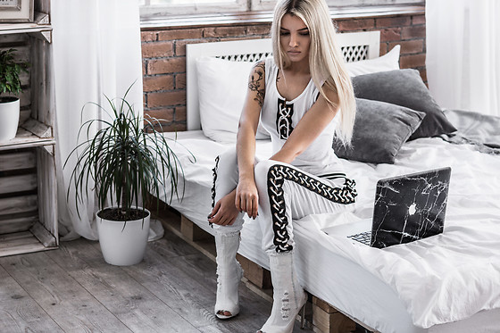 Krist Elle - White Lace Up Bodysuit, White Lace Up Joggers, White Denim Anlkle Boots - Lace Up Tracksuit