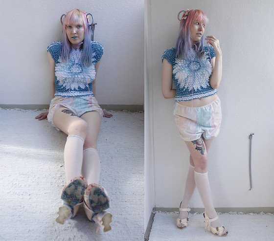 Lindwormmm - Thrifted Popcorn Shirt, Kitty Dearest Hand Made Bloomers, Sheer White Socks, Irregular Choice Kitty Cat Heel Heels - The Cloud and The Sun